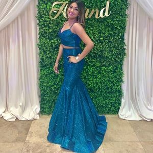 Camille La Vie dress two piece mermaid gown teal